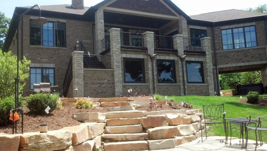 Natural stone steps and wall | RE Marshall | Rockford IL