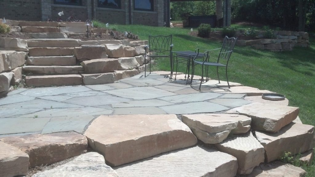 patio and natural stone steps | RE Marshall | Rockford IL