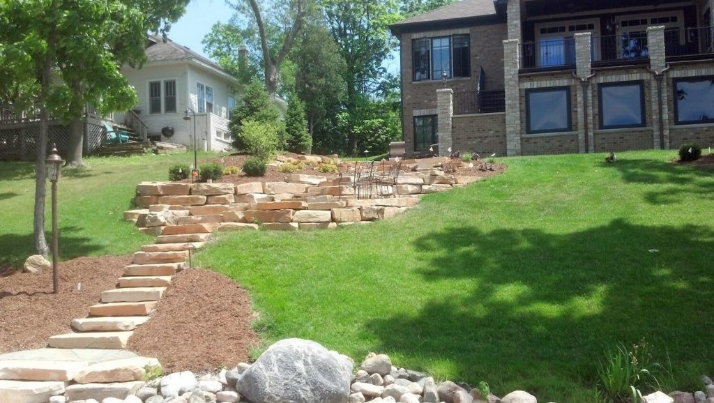 natural stone steps and retaining wall | RE Marshall | Rockford IL