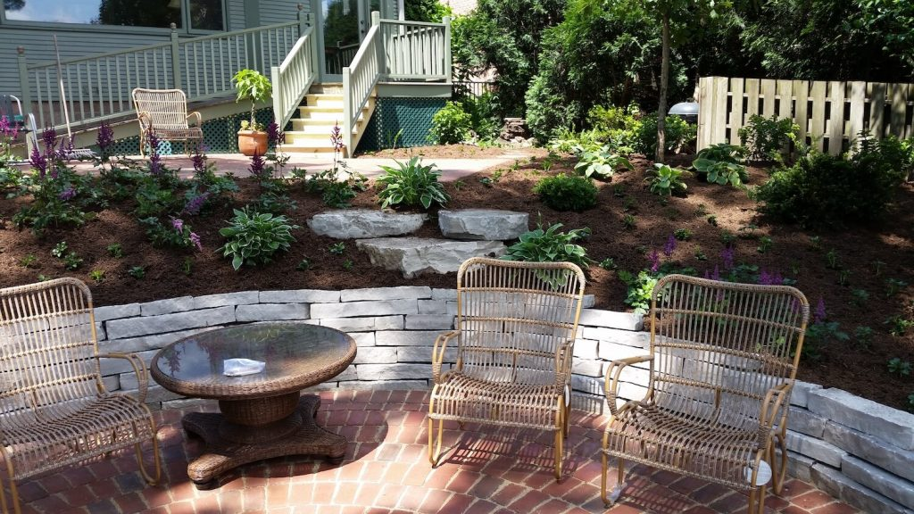 Landscape design natural stone wall paver patio RE Marshall Nursery Rockford IL