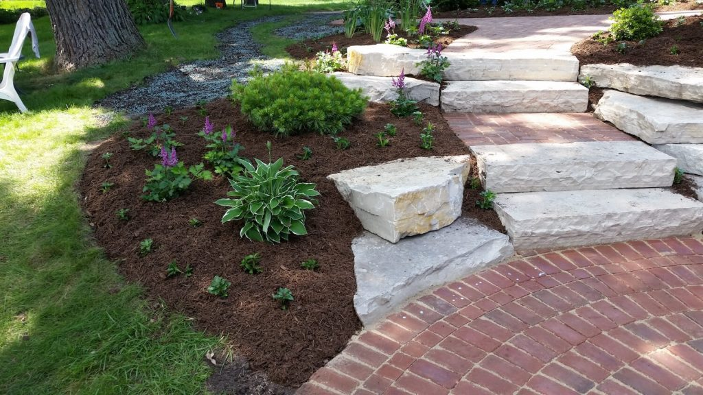 Landscape stone steps | RE Marshall | Rockford IL