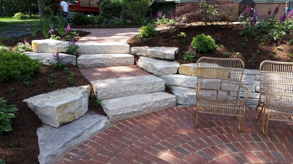 Paver patio stone wall | RE Marshall | Rockford IL