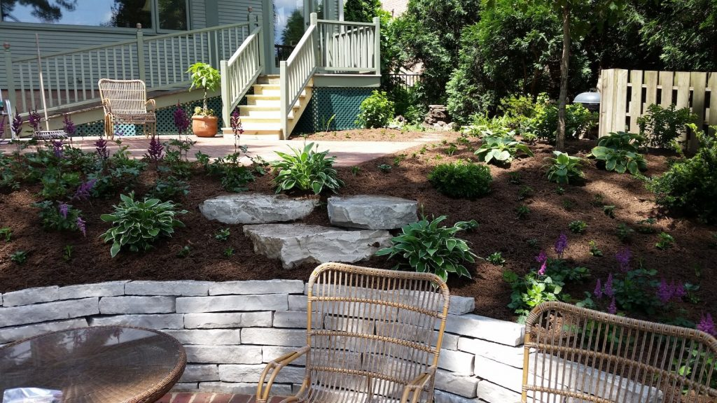 Stone retaining wall Landscape | RE Marshall | Rockford IL