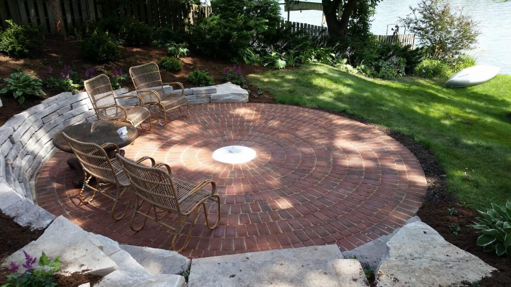 Paver patio stone wall | RE Marshall | Landscape design | Rockford IL