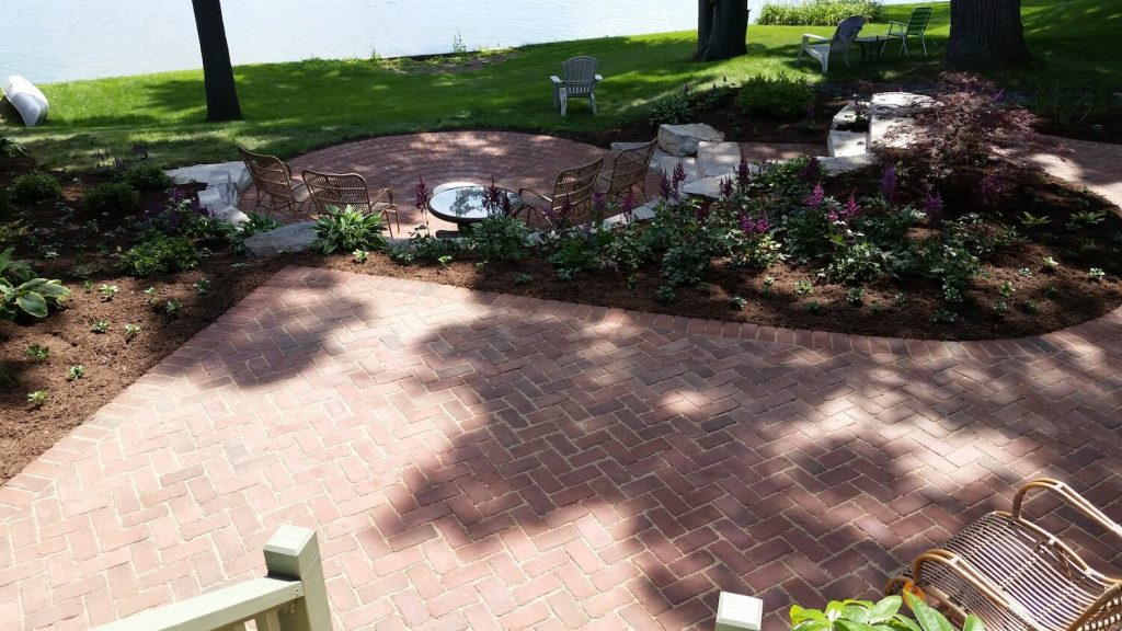 Landscape around paver patio | RE Marshall | Rockford IL