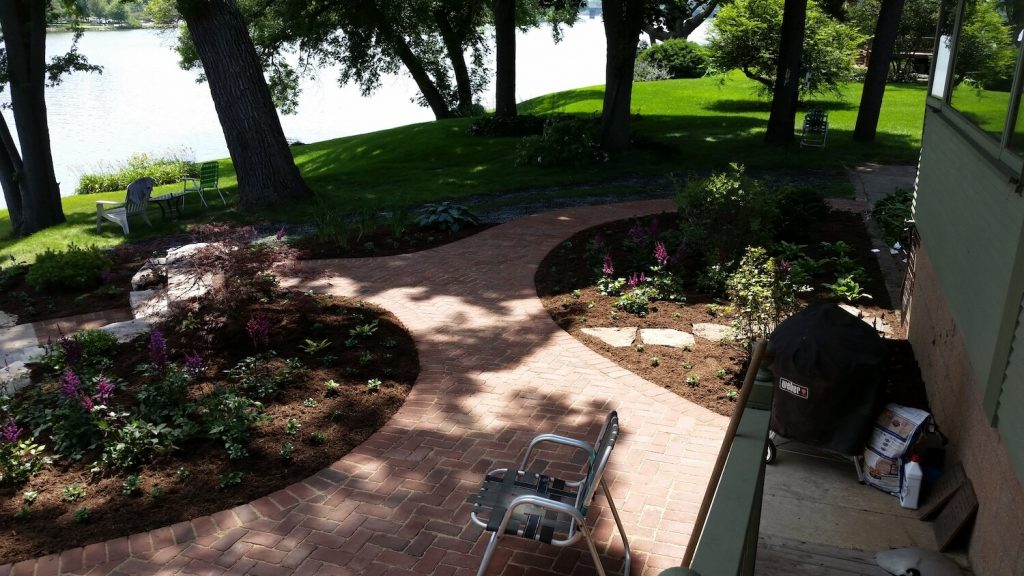 Stone walkway Landscape design | RE Marshall | Rockford IL