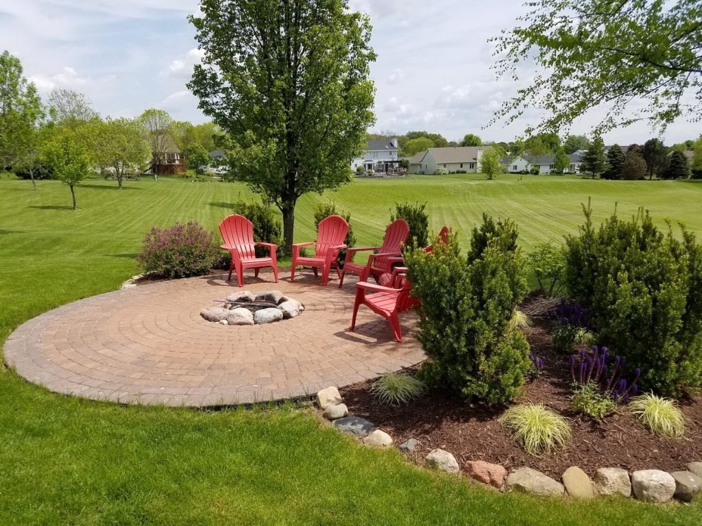 Backyard fire pit and patio | RE Marshall | Rockford IL